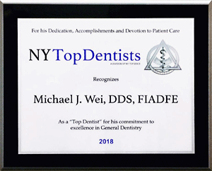 2018 New York Top Dentist Award
