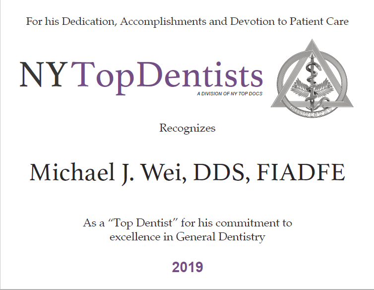 2019 New York Top Dentist Award