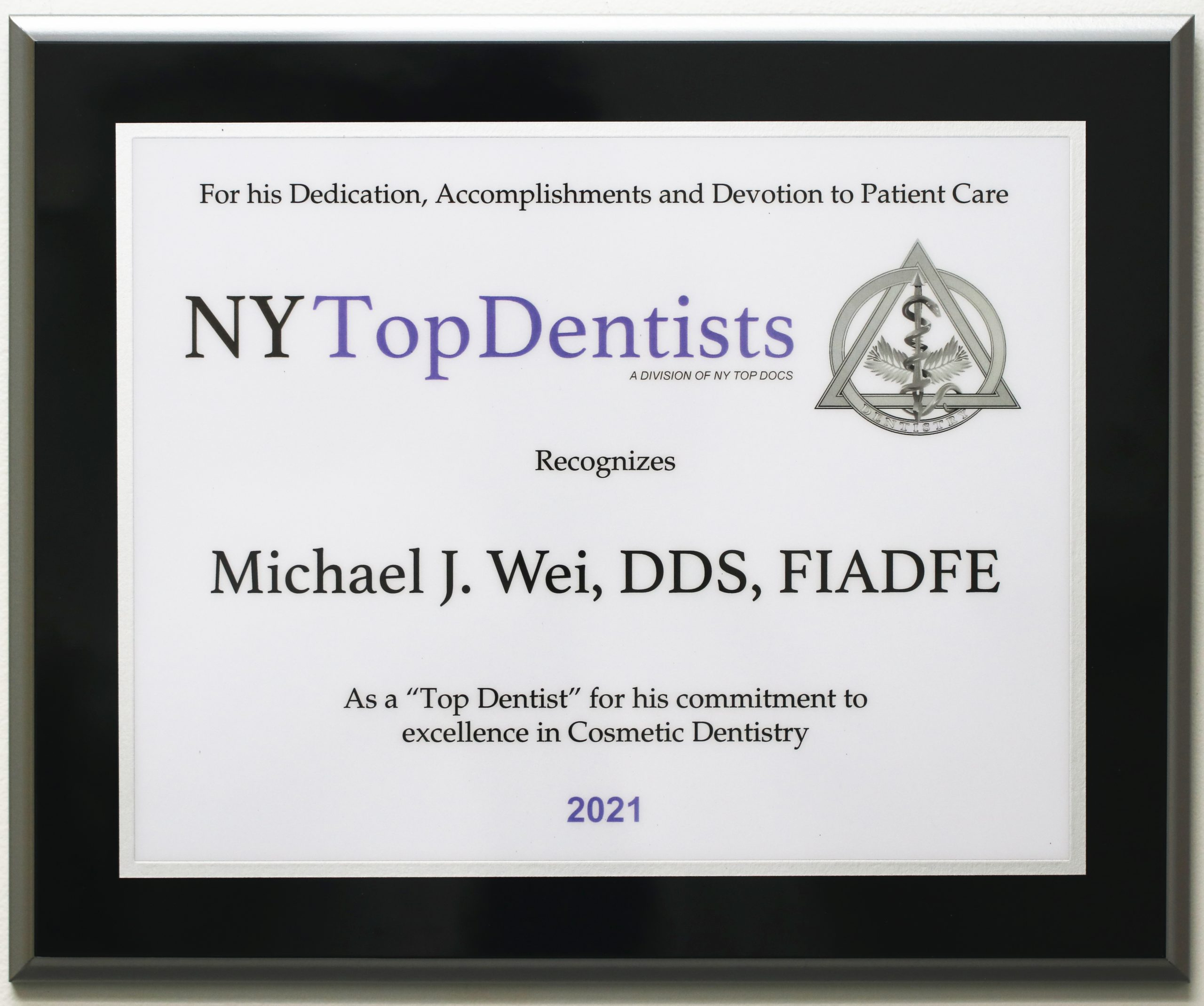 Dr Michael J Wei NY Top Dentist 2021