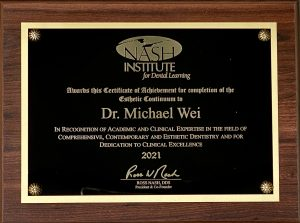 Nash Institute award plaque Dr. Michael J. Wei